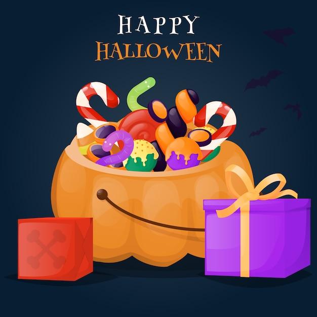 Cesta de abóbora de halloween cheia de doces e guloseimas. Vetor Premium