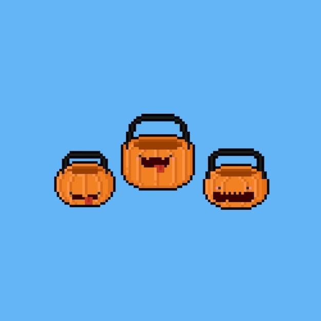 Cesta de abóbora de pixel art dos desenhos animados. 8bit. dia das bruxas. Vetor Premium