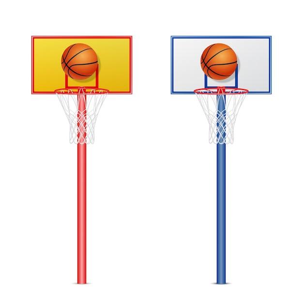 Cesta de basquete com uma bola Vetor Premium