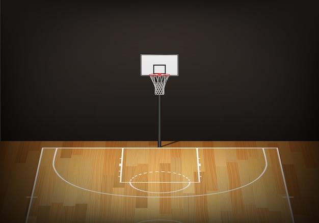Cesta de basquete na quadra de madeira vazia. Vetor Premium