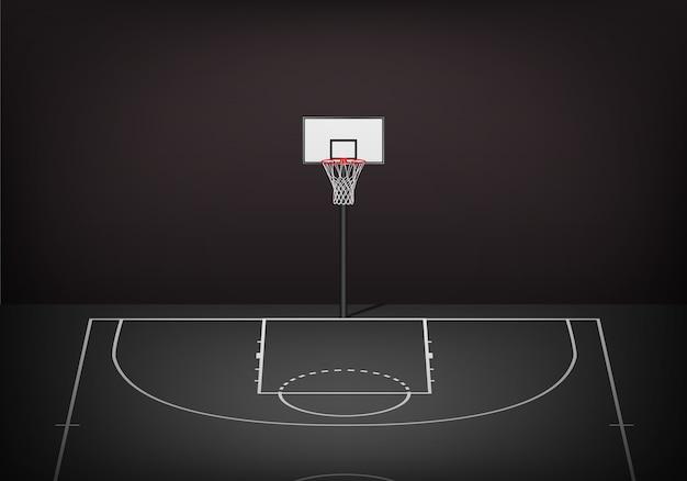Cesta de basquete na quadra preta vazia. Vetor Premium