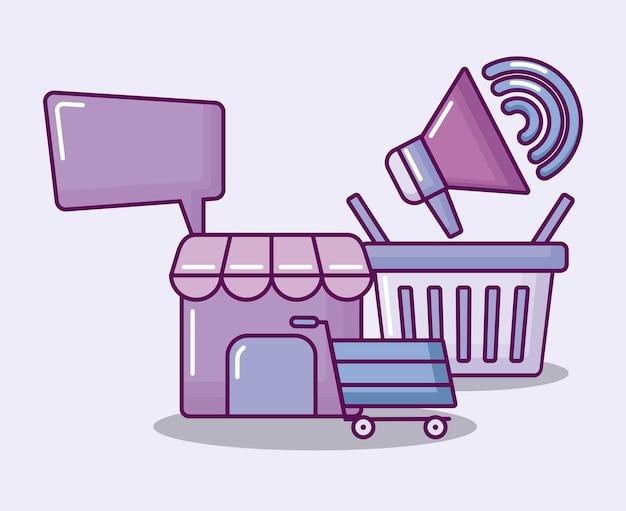 Cesta de compras com economia de conjunto de ícones Vetor grátis