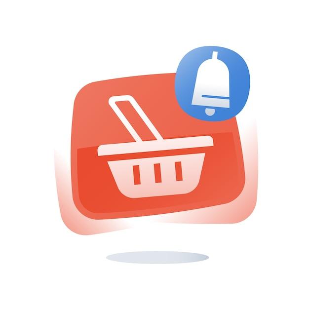 Cesta de compras, conceito de carrinho abandonado, botão de compras online Vetor Premium