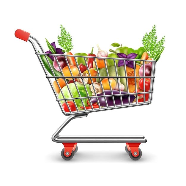Cesta de compras de frutas e legumes frescos Vetor grátis
