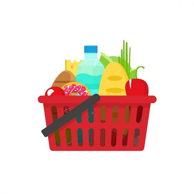 Cesta de compras de supermercado vector ilustração plana dos desenhos animados Vetor Premium