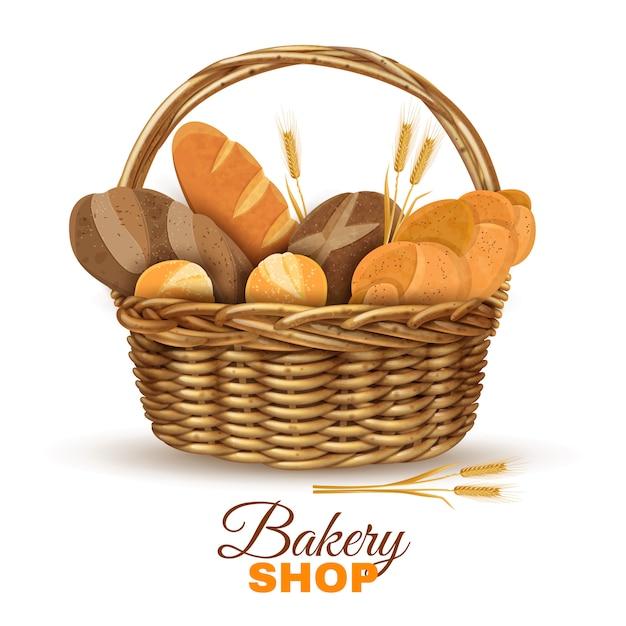Cesta de padaria com pão realista imagem Vetor grátis