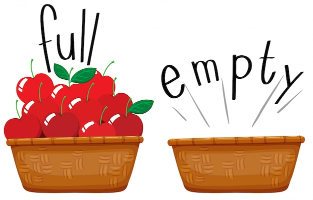 Cesta vazia e cesta cheia de maçãs Vetor grátis