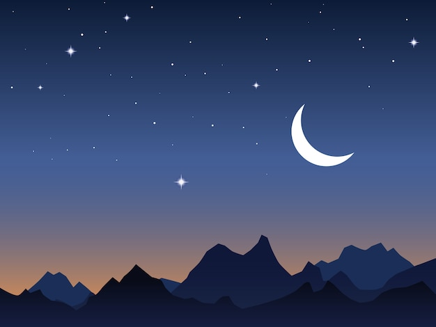 Céu amanhecer e montanhas vector fundo Vetor Premium
