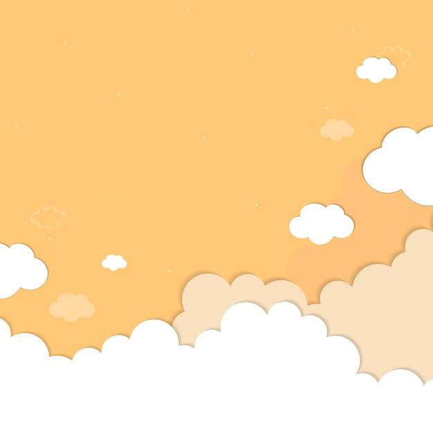 Céu amarelo com nuvens padronizada de fundo vector Vetor grátis