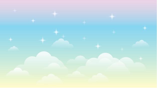 Céu arco íris galáxia bela paisagem plano de fundo Vetor Premium