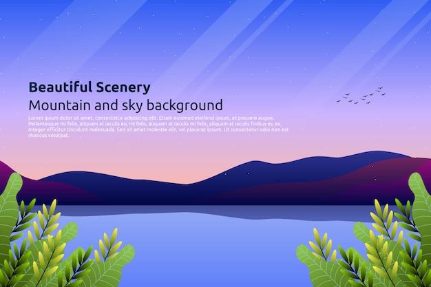 Céu colorido do sol com fundo de montanha Vetor Premium