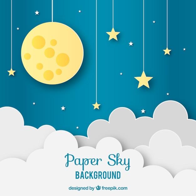 Céu, com, nuvens, e, lua, fundo, em, papel, textura Vetor grátis
