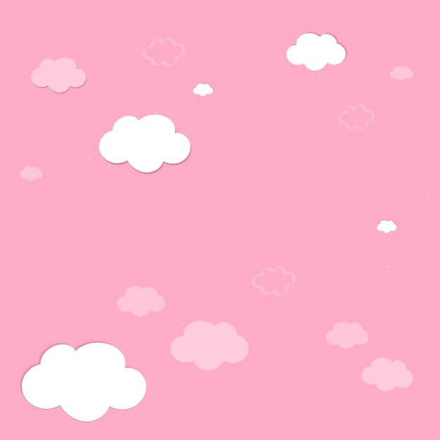 Céu cor-de-rosa com vetor de papel de parede de nuvens Vetor grátis