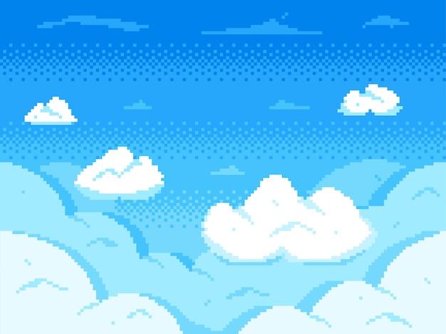 Céu de pixel art. horizonte de 8 bits de nuvens, paisagem de nuvem de videogame retrô e fundo nublado Vetor Premium