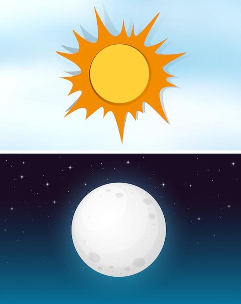Céu dia e noite Vetor grátis
