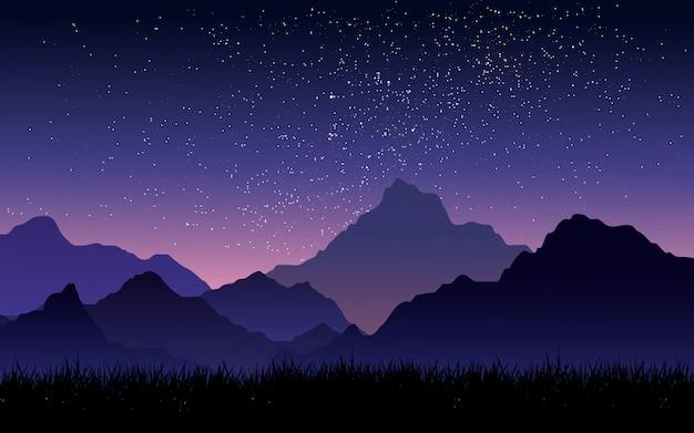Céu estrelado sobre a montanha com céu gradiente Vetor Premium