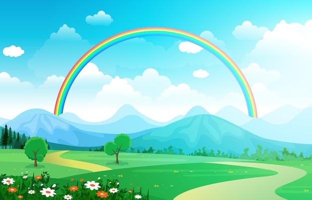 Céu lindo arco-íris com natureza de montanha prado verde Vetor Premium