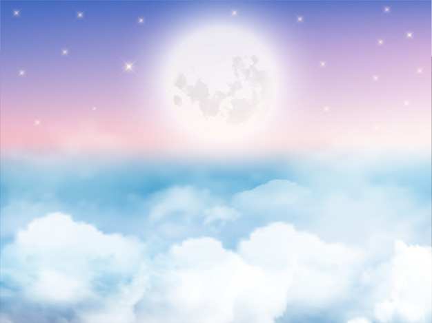Céu noturno com lua crescente, nuvens e estrelas. Vetor Premium
