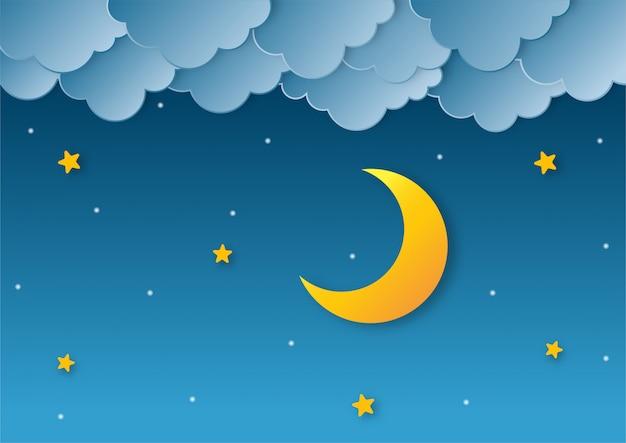 Céu noturno. lua, estrelas e nuvens à meia-noite. estilo de arte em papel. Vetor Premium