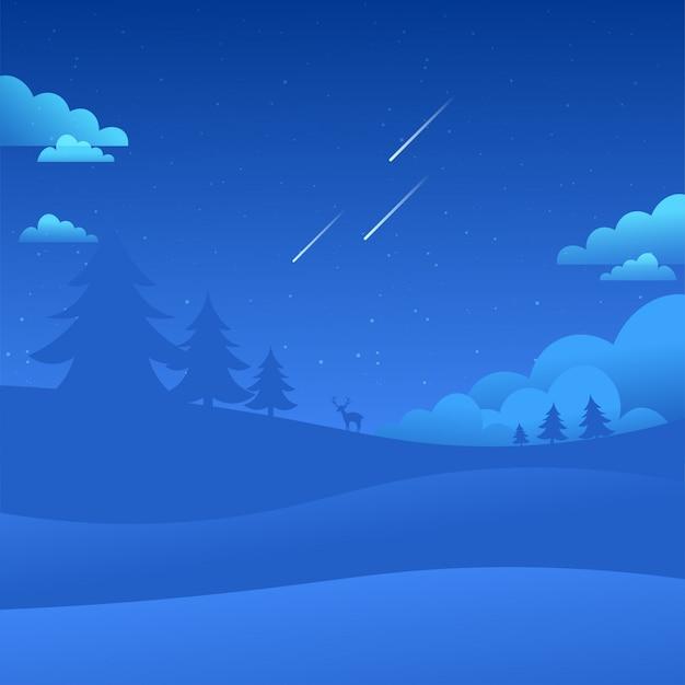 Céu noturno paisagem caindo estrelas natureza fundo Vetor Premium