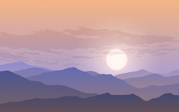 Céu nublado sobre a montanha durante o pôr do sol Vetor Premium