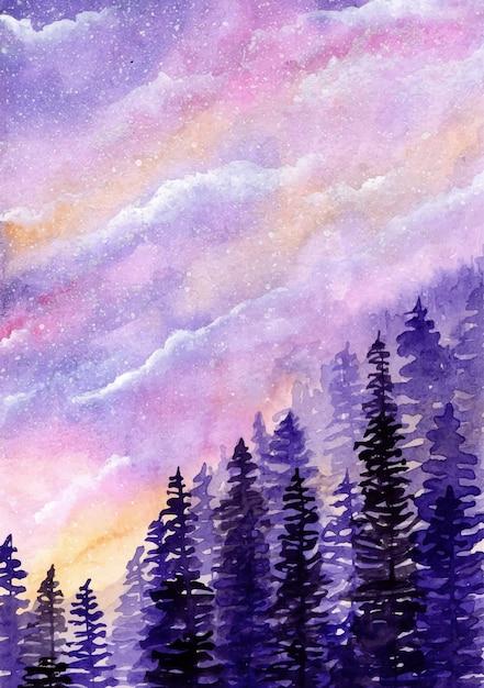 Céu sonhador com fundo aquarela de pinheiros Vetor Premium
