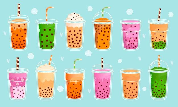 Chá com leite bolha. chá com leite de pérola, leite matcha, cacau, sabores de frutas e chá verde, bebidas fofas asiáticas Vetor Premium