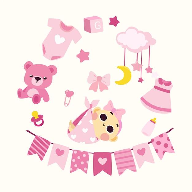 Chá de bebê bonito ilustração menina Vetor Premium