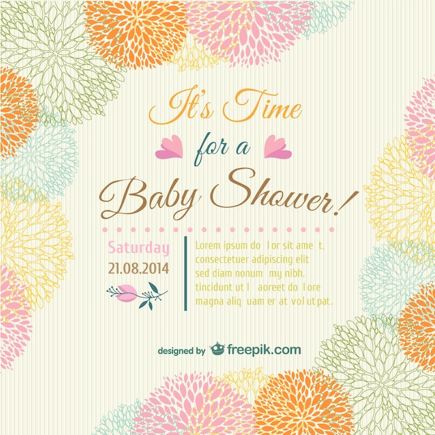Chá de bebê cartão convite floral Vetor grátis