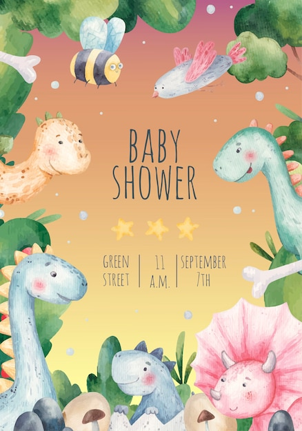 Chá de bebê, cartão de convite de férias para crianças com dinossauros fofos, natureza, ilustração em aquarela Vetor Premium