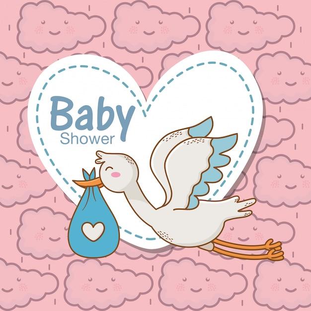Chá de bebê cegonha fralda coração azul adesivo nuvens fundo Vetor Premium