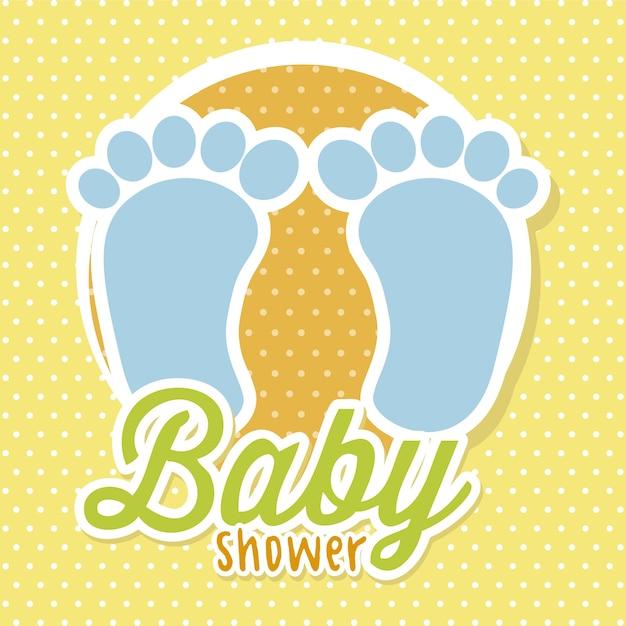 Chá de bebê com foots sobre vetor de fundo amarelo Vetor Premium