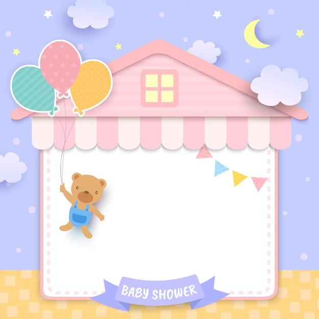 Chá de bebê com urso segurando balões e quadro de casa Vetor Premium