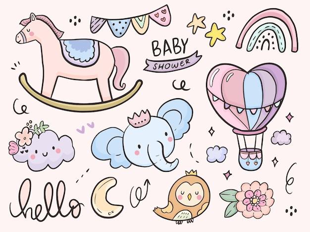 Chá de bebê fofo e desenho de ilustração de animal de bebê para crianças para colorir e imprimir Vetor Premium