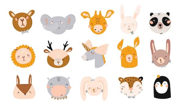 Chá de bebê fofo em estilo escandinavo, incluindo citações da moda e elementos decorativos desenhados à mão de animais legais. desenhos animados doodle ilustração infantil para decoração de berçário, crianças Vetor Premium