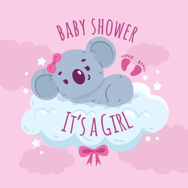 Chá de bebê menina com urso coala Vetor grátis