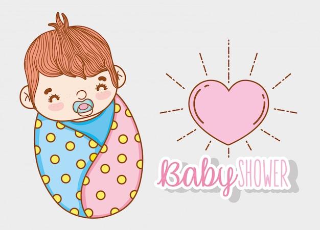Chá de bebê menino com chupeta e coração Vetor Premium