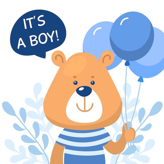 Chá de bebê menino com urso Vetor grátis