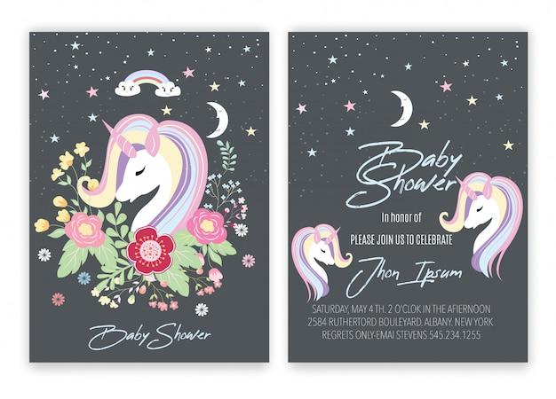 Chá de fraldas floral do cartão da decoração do unicórnio do unicórnio. Vetor Premium