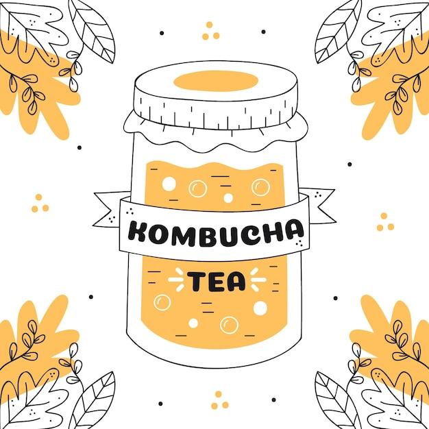 Chá de kombuchá desenhado à mão em frasco Vetor grátis