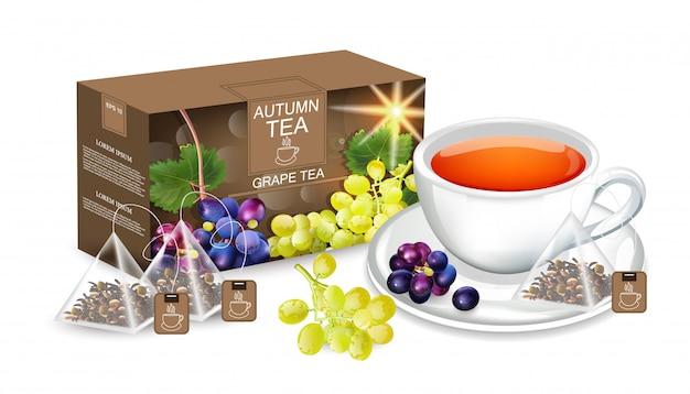 Chá de uva realista mock up Vetor Premium
