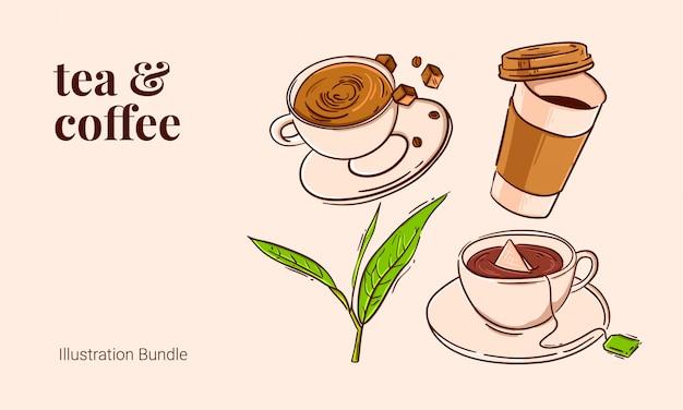 Chá e café pacote de ilustração vintage contorno açúcar mascavo folha de chá de café quente Vetor Premium