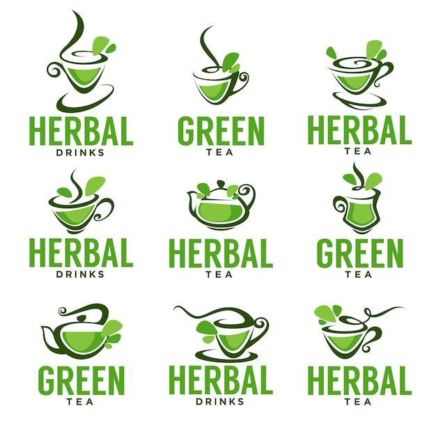 Chá verde, de ervas, orgânico, design de modelo de logotipo de vetor Vetor Premium