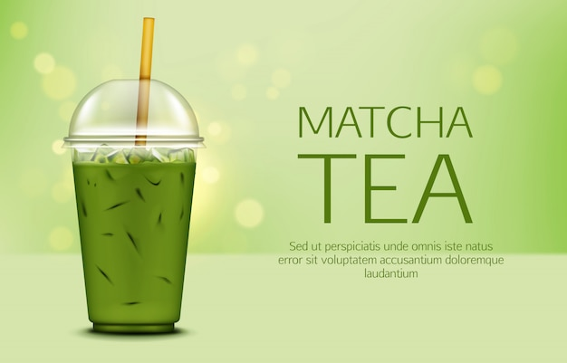 Chá verde matcha com cubos de gelo no copo para viagem Vetor grátis