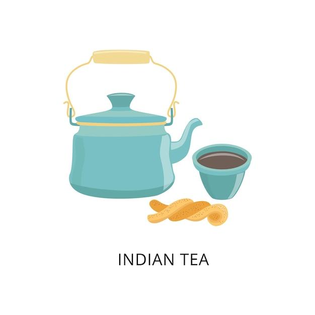 Chaleira com chá tradicional indiano, chávena de chá e pastelaria. Vetor Premium
