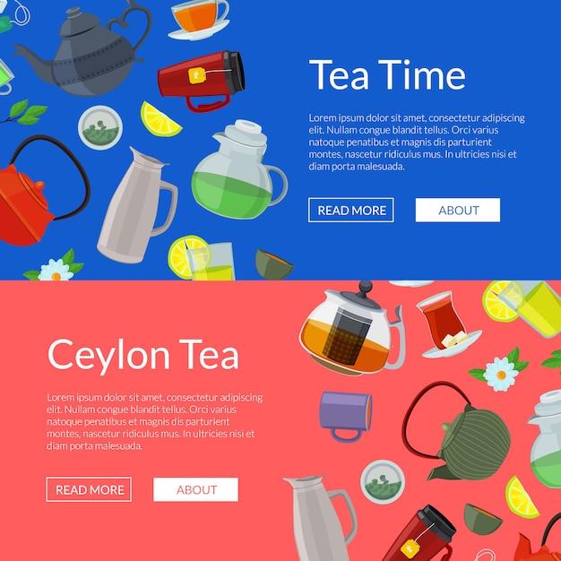 Chaleiras e copos de chá dos desenhos animados web modelos de banner Vetor Premium