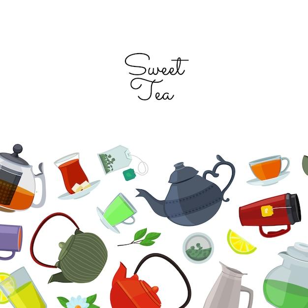 Chaleiras e copos de chá Vetor Premium