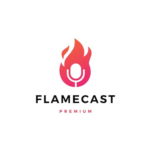Chama fogo podcast microfone logotipo icon ilustração Vetor Premium
