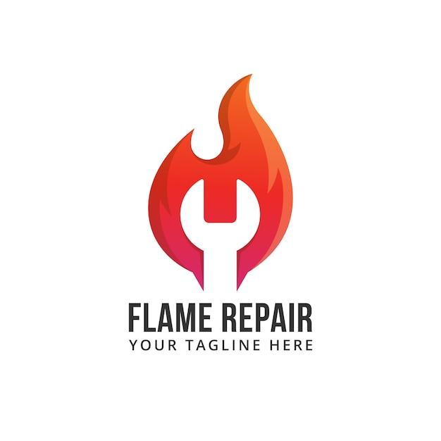 Chama reparação fogo forma abstrata quente rápido rápido ilustração logo Vetor Premium