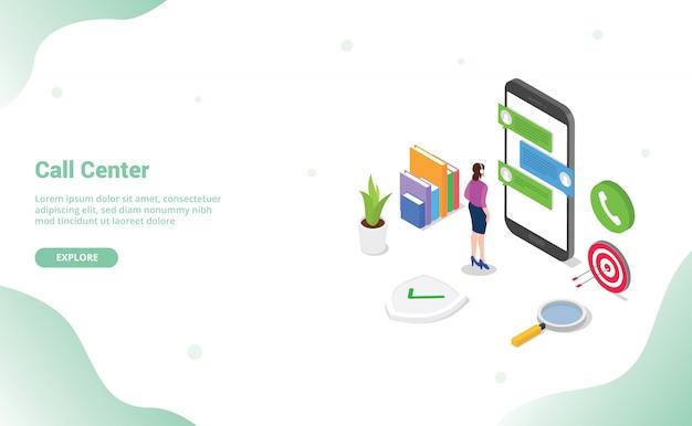Chamada central de atendimento com suporte ao cliente em pé nos aplicativos do smartphone isométrico Vetor Premium